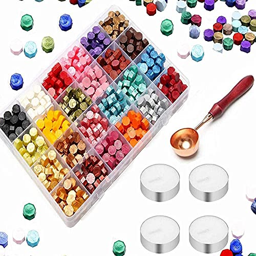 Malidily 600 Perline Ottagonali di Cera con 1 Cucchiaio e 4 Candele Bianche per Inviti di Nozze,Regalo Avvolgimento, Busta Affrancatura Lettera,Sigillare Buste (24 colori)