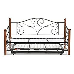 Doral Metal Daybed with Link Spring and Trundle Bed Pop-Up Frame, Twin