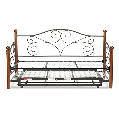 Fashion Bed Group Doral Complete Metal Daybed with Link Spring and Trundle Bed Pop-Up Frame, Twin,...