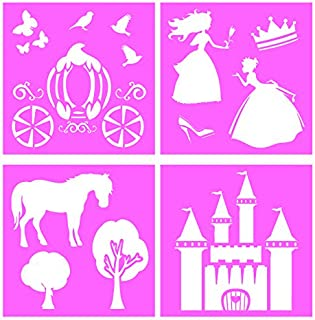 Auto Vynamics - STENCIL-PRINCESSSET01-10 - Detailed Fairy Tale Princess Large Stencil Kit - Featuring A Castle, Carriage, Princesses, More! - 10-by-10-inch Sheet - (4) Piece Kit - Set of Sheets
