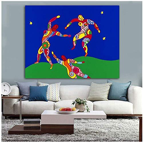 ASLKUYT Der Tanz Abstrakte Ölgemälde Auf Leinwand Zeichnung Kunst Spray Wandkunst Für Wohnzimmer Schlafzimmer Niki De Saint Phalle-50x80 cm Kein Rahmen