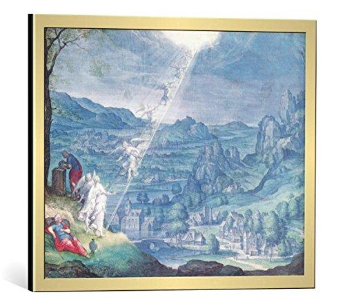 kunst für alle Bild mit Bilder-Rahmen: Johann Wilhelm Baur Jacob s Dream - dekorativer Kunstdruck, hochwertig gerahmt, 50x40 cm, Gold gebürstet