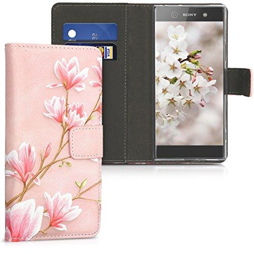 kwmobile Hülle kompatibel mit Sony Xperia XA1 - Kunstleder Wallet Case mit Kartenfächern Stand Magnolien Rosa Weiß Altrosa
