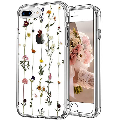 ICEDIO iPhone 8 Plus Case,iPhone 7 Plus Case with Screen Protector,Clear with Elegant Floral Flower Patterns for Girls Women,Shockproof Protective Phone Case for iPhone 8 Plus/7 Plus