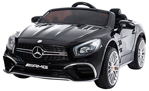 RunRunToys eléctrico Coche Mercedes SL65 Licenciado de 12V con Tracción Trasera y Mando Radio Control, Color Negro (Herrajes Multimec 4012)