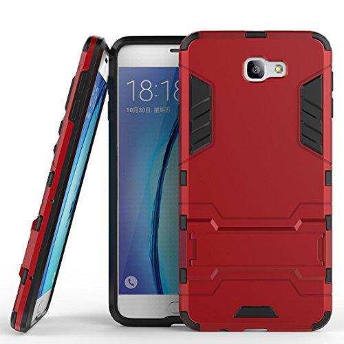 MaiJin Funda para Samsung Galaxy J5 Prime/Galaxy On5 2016 (5 Pulgadas) 2 en 1 Híbrida Rugged Armor Case Choque Absorción Protección Dual Layer Bumper Carcasa con Pata de Cabra (Rojo)