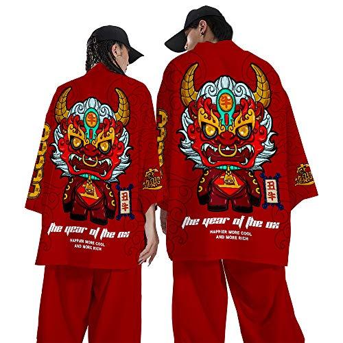 Chaqueta de Punto con Manga 3/4 de Kimono Japonés para Hombre - Cárdigan Japonés de Estilo Chino,Red-Xxlarge