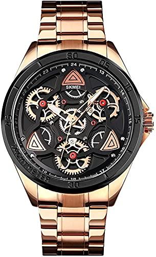QHG Relojes para Hombre Luminoso Relojes de Cuarzo Casual para Hombres Reloj de Moda Pulsera Impermeable Reloj de Pulsera de Acero Inoxidable (Color : BlackGold)