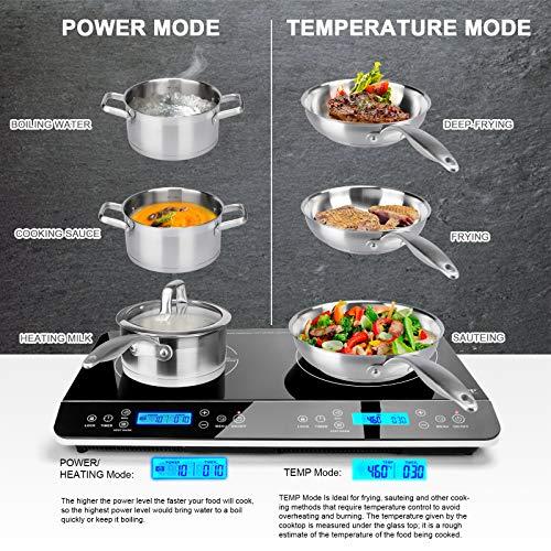 Product Image 4: Duxtop LCD Portable Double Induction Cooktop 1800W Digital Electric Countertop Burner Sensor Touch Stove, 9620LS/BT-350DZ