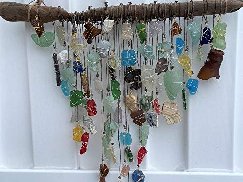 Sea Glass SunCatcher, Bohemian Sun Catcher, Beach Glass Decor, Driftwood Mobile, Beach Wedding, Glass Window Art, Embossed Beach Glass, Ohio