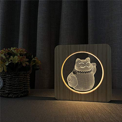 tzxdbh 3D Dia LED Night Lighttreasure Cat schakelaarbesturing voor decoratie voor outdoor sport liefhebbers