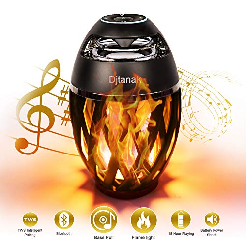 Jeantan Outdoor Bluetooth Speaker with Lights, LED Atmosphere, IP65 Waterproof, Table Lamp HD Nonstop 13 Hours Portable Speaker, LED Flame Light Speaker Music Player Birthday Gifts