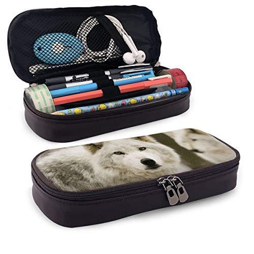 Weißer Wolf Federmäppchen Federmäppchen Make-up Stifttasche Halter Box Organizer Studenten Schreibwaren mit doppeltem Reißverschluss Stifthalter für Schule/Büro/Reisen