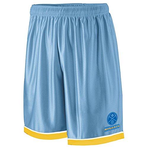 NBA Denver Nuggets Adult men NBA Poly Shorts 2 Pocket,3X,Lt Blue/Gold