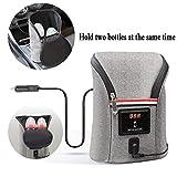 Babyflaschenwärmer Auto, SUNJULY Thermotasche Kühltasche für Babyflaschen, USB Out Portable Heizung Flaschenwärmer für Outdoor Unterwegs, Grau