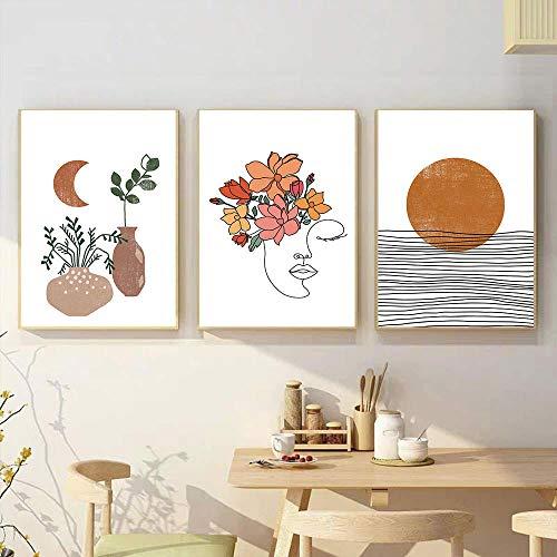VCFHU Sun Moon Plantas en Maceta Cuadro en Lienzo Mujer Abstracta Línea de Flores Arte de la Pared Cuadros Abstractos Impresiones Sala de Estar Imagen de la Pared Decoración 40x50cmx3 Sin Marco