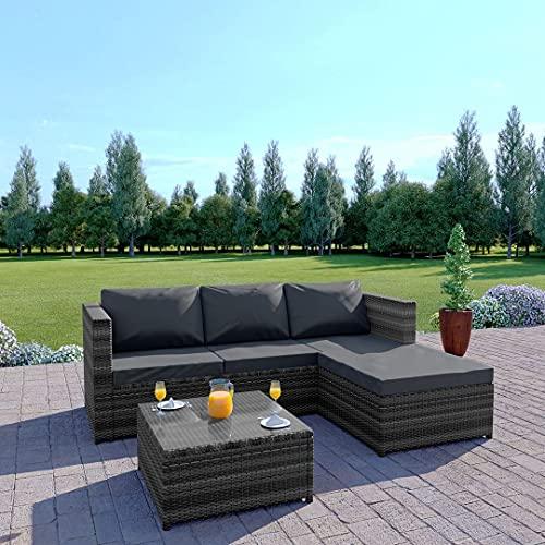 Rattan Garden Corner Sofa And Drinks Table Patio Furniture Set (Mixed Grey + Dark Cushions)