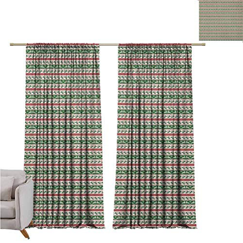 Christmas Blackout Curtain Holiday Symbols in Ornate Borders Reindeers Mistletoe and Winter Snowflakes Set of Two Panels for Curtains W52 x L84 Inch Red Green White