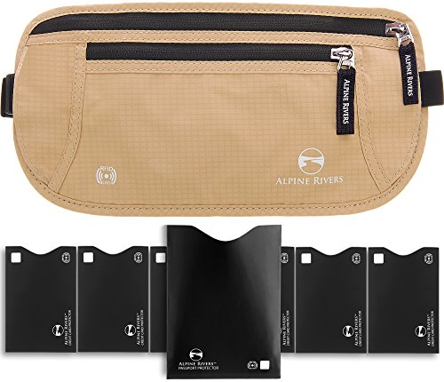 Travel Money Belt - RFID Blocking Hidden Wallet with 7 Bonus Sleeves