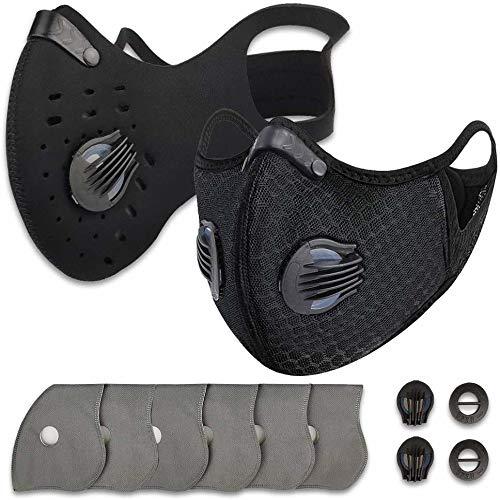 Máscara antipolvo para ciclismo con 2 válvulas y 4 carbón activado, para...