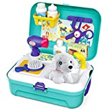 Pet Care Play Set Dog Grooming Kit with Backpack Doctor Set Vet Kit Educational Toy-Pretend Play for Toddlers Kids Children (16 pcs)