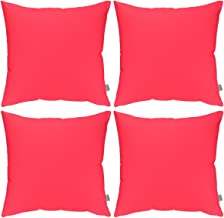 Pack of 4 Cotton Pillow Covers,Decorative Solid Square Throw Pillow Case for Home Sofa Decorative (Cover Only,No Insert)(1...