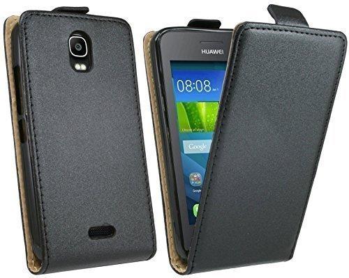 ENERGMiX Klapptasche Schutztasche kompatibel mit Huawei Y360 in Schwarz Tasche Hülle
