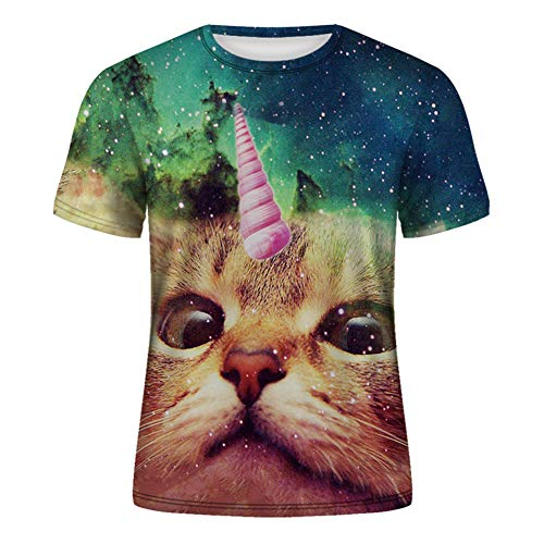 3D Digital Pattern Animal Cat Print Summer Men's Crew Neck Short Sleeve T-Shirt Top