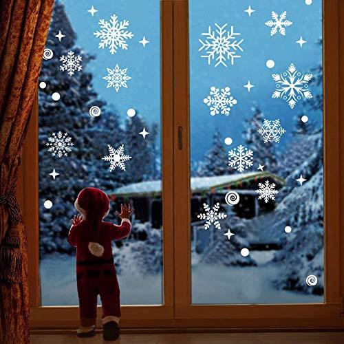 Cymax 148 Weihnachten Fenstersticker Schneeflocken Fensterdeko, Abnehmbare Fensteraufkleber Schneeflocken Fensterbilder Winter Deko