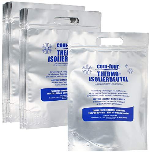 COM-FOUR® 20x thermische isolatiezak voor het transport van medicatie - koeltas voor insuline, vaccins en medicatie - zak met drukafdichting (20 stuks)