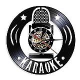 ROMK Reloj de Pared acrílico Personalidad Karaoke Arte de la Pared Decoración Reloj Hacer de Disco de Vinilo Reloj de Pared de Cuarzo Micrófono Reloj de Pared Decorativo Moderno