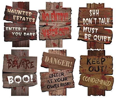MerryXD Halloween-Dekoration, Hofschilder, Pfähle Vorsicht, Requisiten, Outdoor, Dekoration, Gräber, Zombie Vampirgräber, Partyzubehör