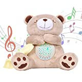 alenyk oso de peluche recién nacidos bebés Nanna Música Box proyector estrellas brillantes, ruido blanco, luz de la noche para el cochecito de la cuna, ideas de regalo de los niños, 15 melodías