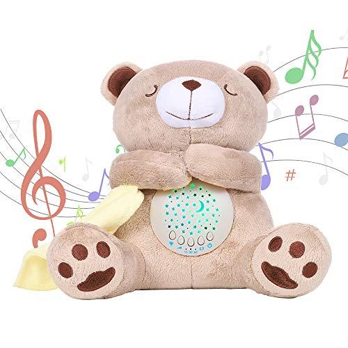 alenyk Teddybär Plüsch Neugeborenes Baby Kinder Schlafen Spieluhr Projektor Helle Sterne, weißes Rauschen, Nachtlicht für Wiege Kinderwagen, 0-5 Kinder Geschenkideen, 15 Melodien
