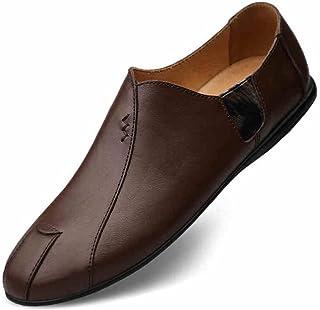 cjc Zapatos de los Hombres Casual Mocasines Plano Formal Negocio Trabajo Confortable Mocasines Mano Puntadas No- Resbalón (Color : B, Tamaño : EU43/UK9)