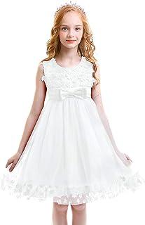 Vestido de Niña de Las Flores Niños Bebé Boda Dama de Honor Princesa Tutu Tul Vestido Corto Sin Mangas Bowknot Fiesta de Cumpleaños Cóctel Noche Vestido de Bola por 2-11 Años