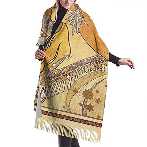 Mucha - Bufanda de cachemir, manta de cachemira, cálida bufanda, chal con diseño del zodiaco por Mucha Chal con borla, envoltorios suaves para fiestas y bodas