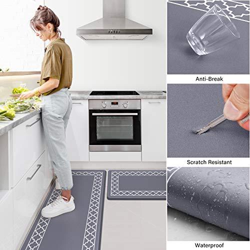 LuxStep Kitchen Mat Set of 2 Anti Fatigue Mat, PVC Non Slip Kitchen Rugs and Mats Waterproof Memory Foam Kitchen Rug, Standing Desk Mat Floor Mats for House,Sink,Office,Kitchen