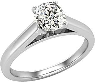 0.50 ct J SI Diamond Engagement Ring for women Cushion Cut 4-prongs Solitaire Setting 14k Gold