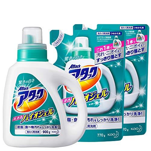 【まとめ買い】アタック 洗濯洗剤 液体 高浸透バイオジェル 本体+詰め替え770g×2個