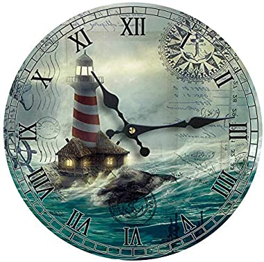Wall Clock Wood Lighthouse Decorative 13 Inch Beach Theme Perfect Decor for Kitchen Bathroom Office Rustic Battery Operated C