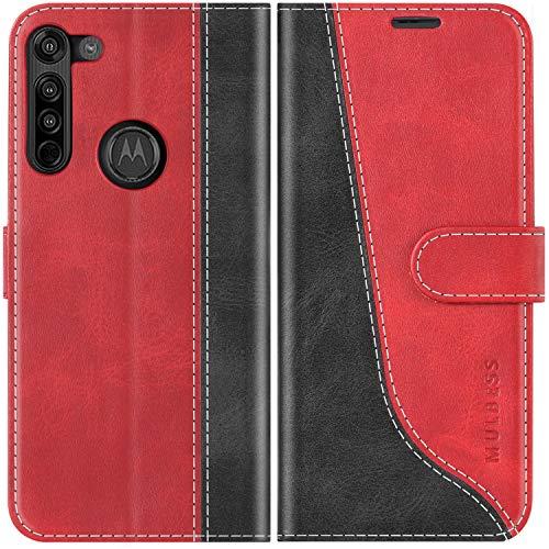 Mulbess Funda Motorola Moto G8 [Libro Caso Cubierta] [Stylish de Billetera Cuero de la PU] con Tapa Magnética Carcasa para Motorola Moto G8, Vino Rojo