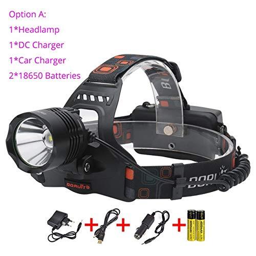 Lampe Frontale LED XM-L2 LED Headlamp 5 mode Banque de puissance Phare 3000Lumens tête de la torche de chasse Camping Lampe de poche par 18650 Batterie (Emitting Color : A)