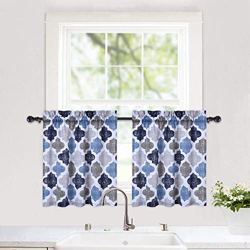 Quatrefoil Printed Tier Curtains for Kitchen, Moroccan Tile Pattern Short Window Curtains, Cotton BlendCafe Curtains, Kitchen Window Curtain Sets for Bathroom, 28' x 24', Gray/Navy, Set of 2