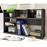 Wood Desktop Storage Organizer Multipurpose Desk Bookshelf Display Shelf Rack Top Bookcase Shelves expandable Black