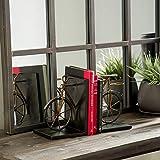 Metal Bicycle Bookend (Set of 2) Black Brown Industrial Acacia Wood