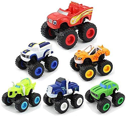 LHJCN 6 Piezas de Juguetes Monster Machine, Big Fire y Monster Machine Camión Monstruo para niños Máquina de Juguete de fundición a presión Máquina de Juguete de Regalo Coche de Juguete