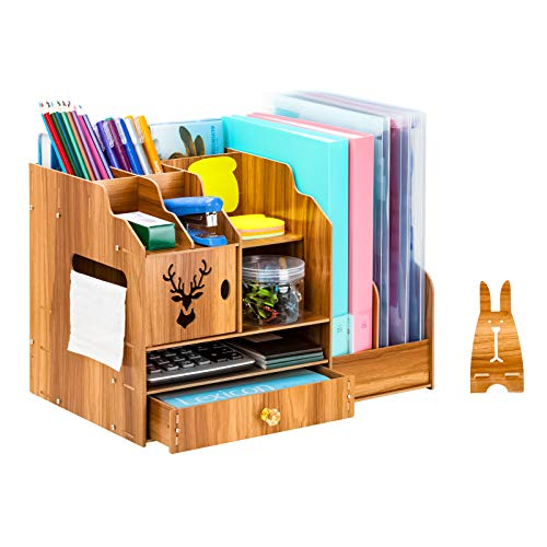 JARLINK Wooden Desk Organizer, Multi-Functional Desk File Organizer with Drawer, Large Capacity Organizer for Office Home Supplies