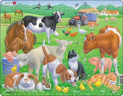 Larsen FH35 Haus- und Nutztiere, Rahmenpuzzle mit 15 Teilen