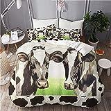 LJHHHH Funda nórdica Foto de Vaca Manchas en Blanco y Negro Juego de Ropa de Cama 160 x 200 cm Poliéster impresión Digital 3D para niños Adultos con